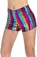 PINKPHOENIXFLY Women's Shiny Booty Shorts Rave Dance Bottoms (Large, Rainbow Purple)
