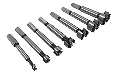 """Taytools 468525 7- Piece Hex Shank Forstner Drill Bit Set with Bits from 1/4"""" to 1"""" by 1/8ths Hardened Carbon Steel in Blow Mold Case"""