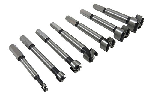"Taytools 468525 7- Piece Hex Shank Forstner Drill Bit Set with Bits from 1/4"" to 1"" by 1/8ths Hardened Carbon Steel in Blow Mold (Shank Forstner Bit Set)"