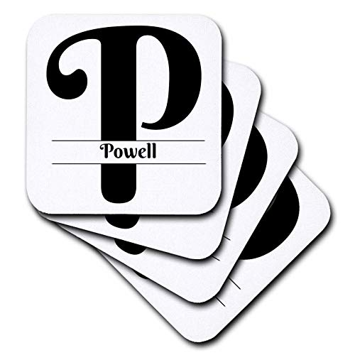 (3dRose BrooklynMeme Monograms - Bold Script Monogram P - Powell - set of 8 Coasters - Soft (cst_306528_2))