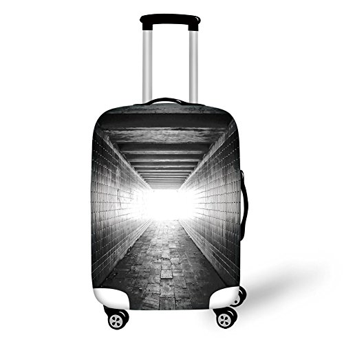 Travel Luggage Cover Suitcase Protector,Horror House Decor,Picture of Light at the end of Tunnel Exit Fear City Abandoned,Black and White,for Travel