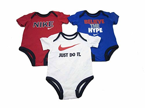 Nike 3 Pack Infant Baby Bodysuits (3-6 Months, Blue/White/Red-560812)