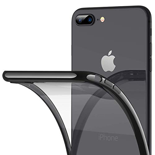RANVOO iPhone 8 Plus Case, iPhone 7 Plus Case, Ultra Slim Thin Clear Soft Case with Premium Flexible Chrome Bumper and Transparent TPU Back Plate Gel Cover, iPhone 8 Plus / 7 Plus (Jet Black)