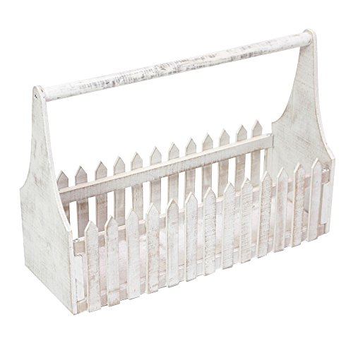 Decorative Wooden Flower Planter Fence Picket Storage, Carry Basket with Handle, Tote Box - White Product SKU: ()