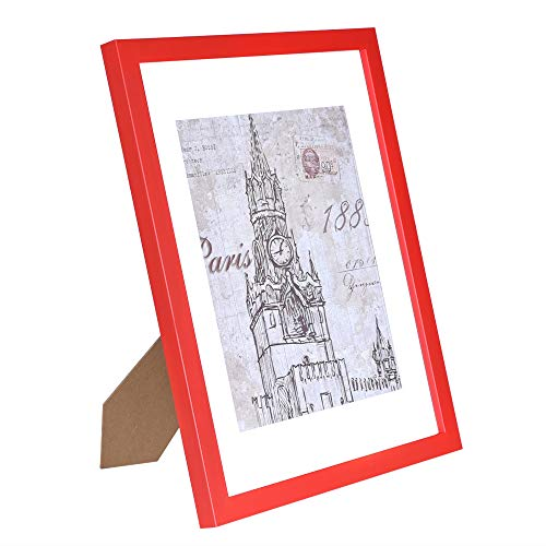 (CMYK 11x14 Red Picture Frame,Anti-Corrosion Wood Photo Frame to Display 8x10 in Mat Photo 11x14in Without Mat Photo Wall Table Top Decor,Certificate Document Frame)