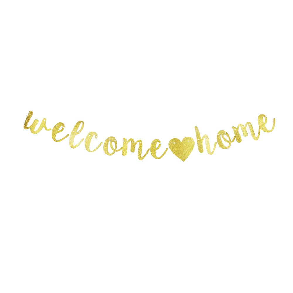 Welcome Home Banner, Welcome Party/Home Party Backdrops Decorations Gold Gliter Paper Sign