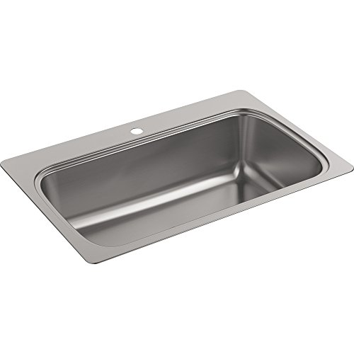 (Kohler K-20060-1-NA Verse 33 inch x 22 inch Drop-In single Bowl Kitchen Sink with single Faucet Hole; Stainless steel)