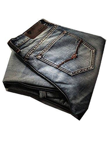 DAWENBI Cosy Men Retro Jeans Nostalgia Straight Denim Jeans Plus Size Casual Long Pants Trousers Jean MG86 38 (Chip Pepper Mens Jeans)