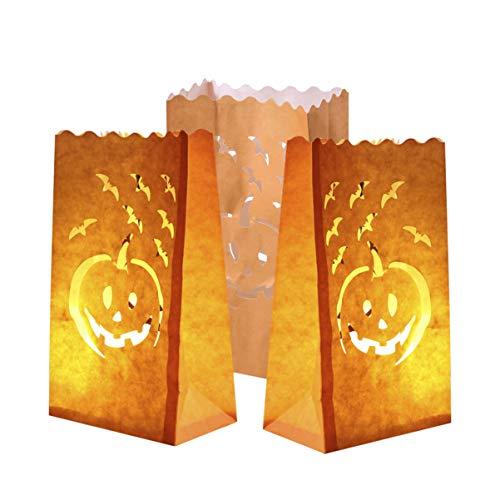 Halloween Luminary Bag Designs (Holibanna Halloween Luminary Bags Jack OLantern Bags Paper Candle Pumpkin Carved Tea Light Holder)