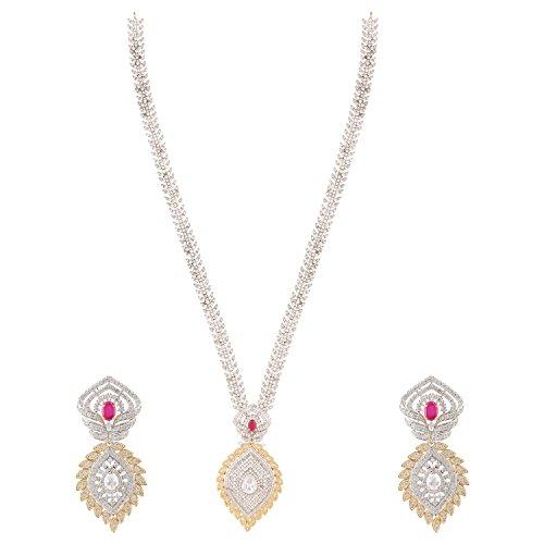 [Swasti Jewels Women's American Diamond CZ Zircon Fashion Jewellery Set Necklace Earrings Red] (Best College Halloween Outfits)