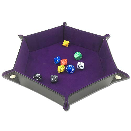 ELYTP Folding Hexagon Dice PU Leather Tray/Purple Velvet Valet Tray for Dungeons and Dragons Accessories RPG DND Dice Gaming Other Table Games and ()