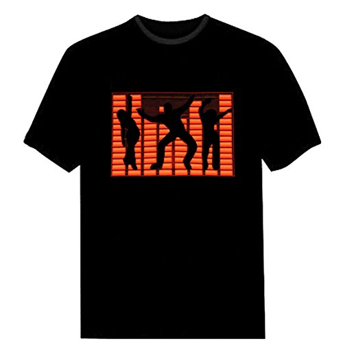 Tricandide Couple LED Flashing Audio Control T-Shirt Night Club Wear