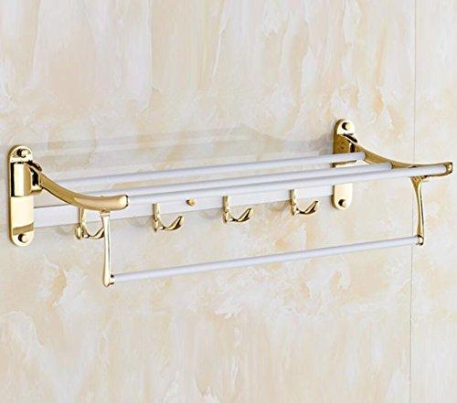 GL&G European luxury white copper Bathroom Bath Towel Rack fold Wall Mount Double Towel Bar Bathroom Storage Organizer Shelf Bathroom Accessories Bathroom Shelves by GAOLIGUO (Image #4)