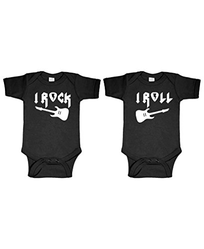(I Rock - I ROLL - Twins Funny Siblings - Two Infant Bodysuit Combo, 6m,)