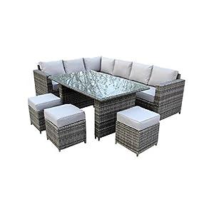 YAKOE Grey Rattan 9 Seater Outdoor Corner Dining Set