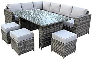 YAKOE Papaver Serie Jardín de Invierno Exterior 9 plazas rinconera ratán Conjunto Muebles de Jardín Terraza, Gris, 182 x 70 x 70 cm: Amazon.es: Jardín