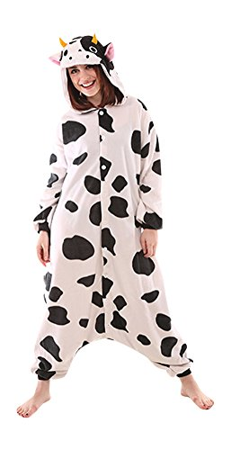 Party Animal Fancy Dress Costume (Animal Adult Onesie Fancy Dress Party Costume One Piece Pajamas Spotted Cow (Large))