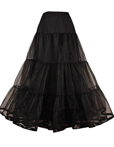 Women's Ankle Length Petticoat Crinoline Underskirt for Long Dress (XL-XXL, Black)