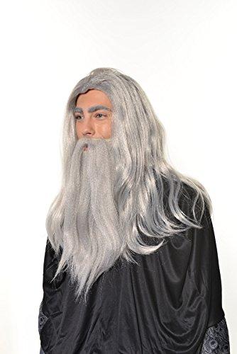 Halloween Cosplay Wizard, Sorcerer, Warlock Merlin Dumbledore Gandalf Old Man Wig & Beard Set (Old Man Beard Costume)