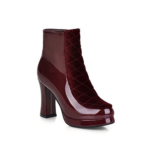 A&N Girls Chunky Heels Zipper Platform Patent Leather Boots Claret
