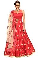 Aika Women's Banglori & Net Fabric Embroidered Anarkali Salwar Suit Gown (Free Size)