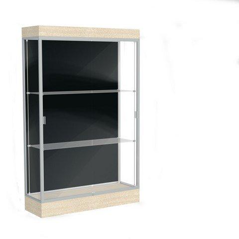 Edge Series Floor Display Case Frame Color: Satin, Base Color: Chardonnay, Case Backing: Black