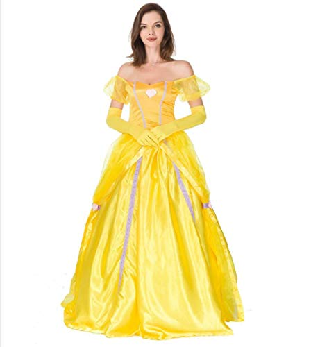(Peachi Adult Disney Princess Belle Inspired by Beauty and The Beast Dress Costume)
