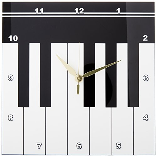 3dRose DPP_112827_1 Piano Keys-Black and White Keyboard Musical Design-Pianist Music Player and Musician Gifts-Wall Clock, 10 by 10-inch