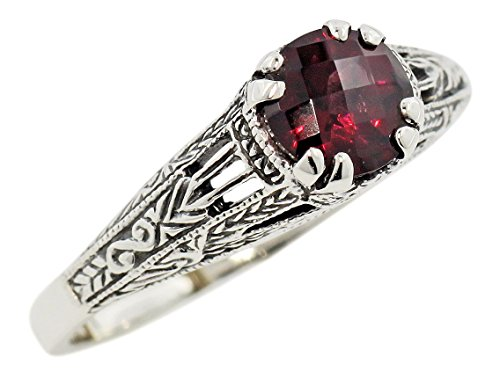 Vintage Style Sterling Silver Filigree 1.00ct Garnet Ring (sz 8)