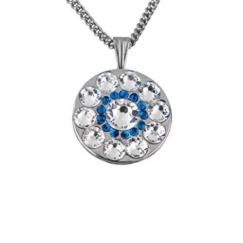 Girls Golf Bling Swarovski Crystal Golf Ball Markers with Magnetic Necklace - Premium Golf Gifts for Women (Spyglass Hill Sapphire Blue Mini)