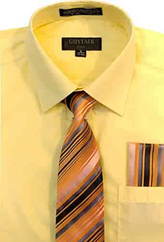 cc538c130d887a Guytalk Mens Dress Shirt with Matching Tie and Handkerchief(30 Colors,  XS-5XL