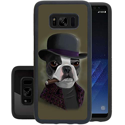 Retro Case Bowler Hat Terrier with Cigar for Samsung Galaxy S8 Plus Soft Protective Case Fashion Style Flexible Rubbery Slim Black Phone Case