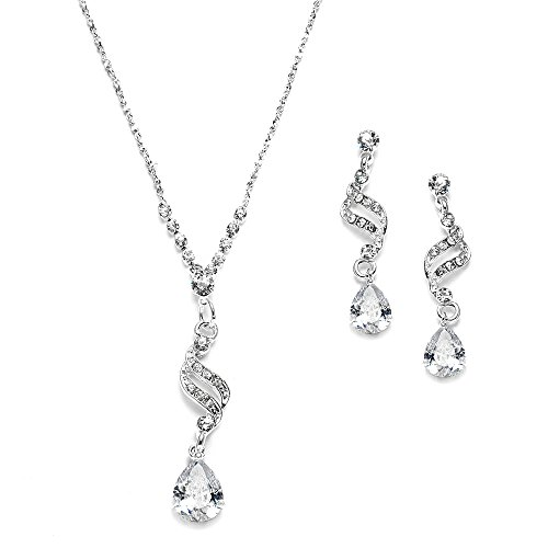 Mariell Graceful CZ and Crystal Necklace Earrings Set with Teardrops for Bridesmaids, Weddings & Prom