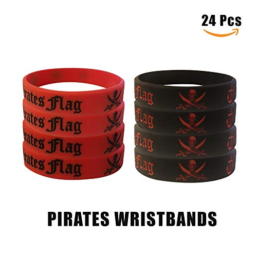 Cleverplay Pirate Party Favors Supplies 24 Pack Caribbean Pirates Silicone Wristbands Bracelets 24 Pack Pirate Toy Rings Great Kids Birthday Parties Pirate Events by Cleverplay (Image #4)