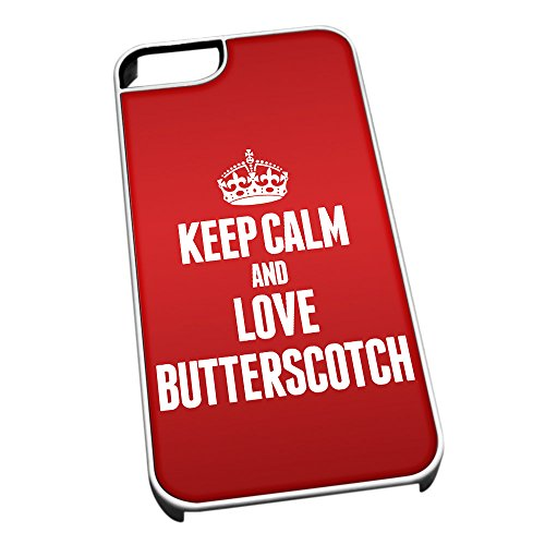Bianco cover per iPhone 5/5S 0884 Red Keep Calm and Love Butterscotch
