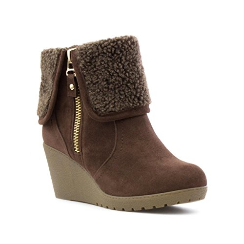 Lilley Womens Brown Wedge Ankle Boot Brown