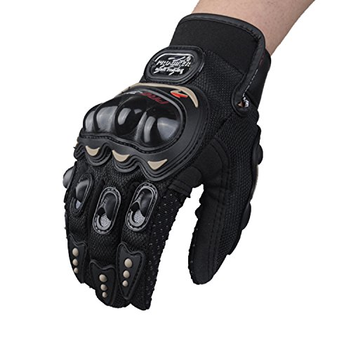 Winter Cycling Gloves, Labato Anti-slip PU Leather Motorcycle Rider Gloves Full Finger Riding Gloves for Professional Racing Driver Gloves for Men and Women for Outdoor Sports (Black, M)