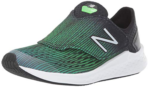 New Balance Boys'  Hook and Loop Fresh Foam Fast  Running Shoe Deep Ozone Blue with RGB Green & Black 1 M US Little Kid (New Balance Shoes Smell Like Cat Urine)