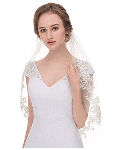 Greenia Women's Vintage 2 Layers Lace Bridal Veil With Comb V03