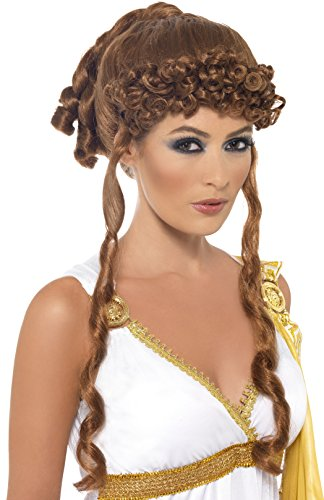 Smiffys Women's Brown Helen of Troy Wig with Curls and Ringlet Bangs, One Size, 5020570421819