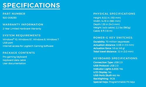 Logitech G Pro Mechanical Gaming Keyboard, 16.8 Million Colors RGB Backlit Keys, Ultra Portable Design, Detachable Micro USB Cable by logitech G (Image #6)