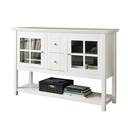 WE Furniture 52'' Console Table Wood TV Stand Console, White