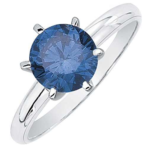 (3/4 ct. Blue - VS2 Round Brilliant Cut Diamond Solitaire Engagement Ring in 14k White Gold (Size-6))