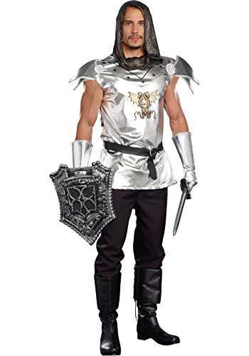 [Dreamgirl Men's Royal Warrior Costume Knight Time, Silver, X-Large] (Dragon Warrior King Adult Mens Costumes)