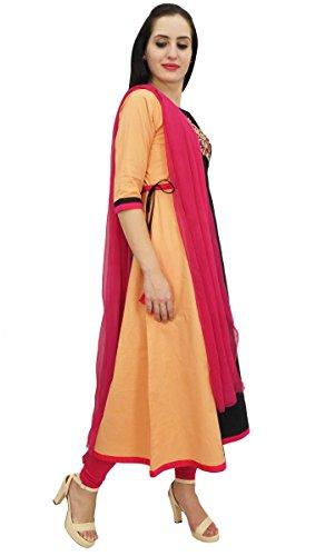 Damenbekleidung Ethnische Designer Kurti amp; Schwarz Stickerei Pfirsich Baumwolle A Line Atasi Yd0PFWRFq