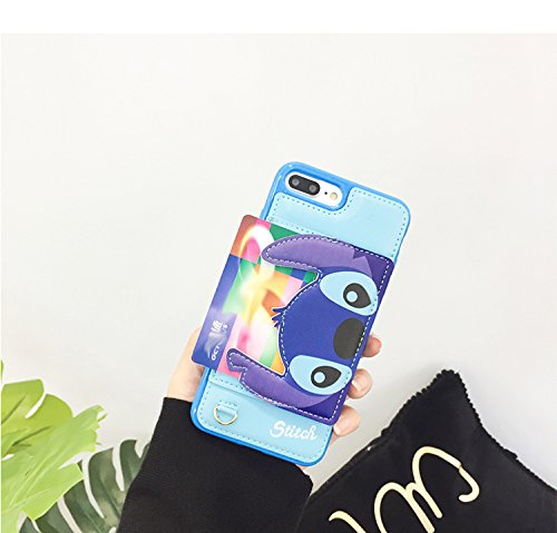 Blue Stitch Leather Case with Card Holder Stand for iPhone 7 Plus / 8 Plus 7+ 8+ 7Plus 8Plus Large Size Disney Cartoon Protective Pratical Shockproof Cute Lovely Chic Gift Kids Boys Girls Little Girls