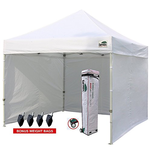 Eurmax 10'x10' Ez Pop-up Canopy Tent Commercial Instant Tent with 4 Removable Zipper End Side Walls and Roller Bag, Bonus 4 SandBags (White) (Zipper 10')