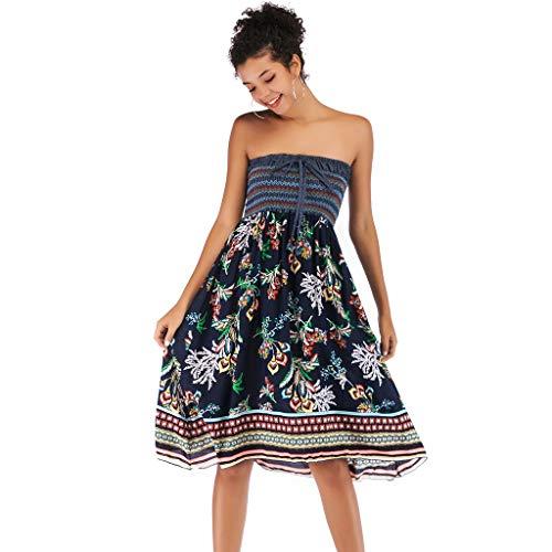 Tube Dress Women Wear Both Strapless Dresses Boho Floral Printed Casual Summer Sundress (Black, L) ()