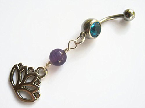 Amethyst Personalized Ring - Personalized Lotus Flower Amethyst Belly Button Ring, Amethyst Belly Button Piercing Jewelry, Purple & Antiqued SILVER, FREE USA SHIPPING