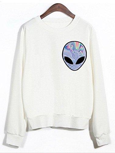 HGentrepreneur Cute Women Girls Sweater Alien Nebula Sweatshirt T Shirts (Holographic Keychain)
